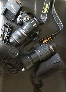 Nikon D5100 with 18-55mm VR lens & Nikon 55-200mm zoom lens