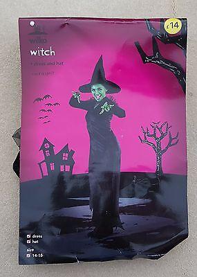 Wilko Damen Schwarz Halloween Hexe Hexen Kleid & Hut Outfit UK Größe 10-12 ()