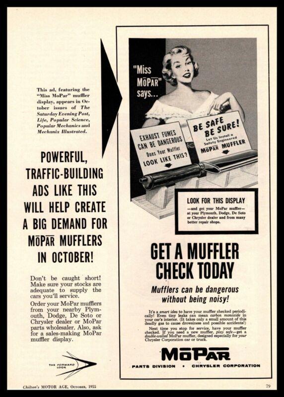 "1955 MoPar Busty ""Miss MoPar"" Dealer Promotional Materials Vintage Print Ad"