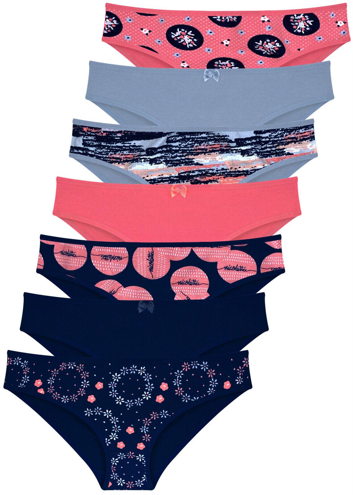 7 Damen Slips Unterhosen Hipster Unterwäsche Baumwolle Panty 34 36 38 40 42 44
