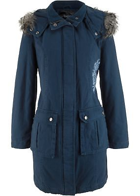 Mantel mit Stickerei Gr. 40 Dunkelblau Damenparka Jacke Kapuzen-Mantel Neu Blau-damen-parka