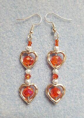 Red crystal double heart design drop earrings silver plated Designer Crystal Double Heart