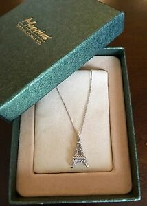 Eiffel Tower Necklace with white gold chain