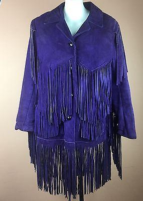 Vintage Custom Purple Fringe Women's Suede Leather Western Coat Jacket Sz 8 M