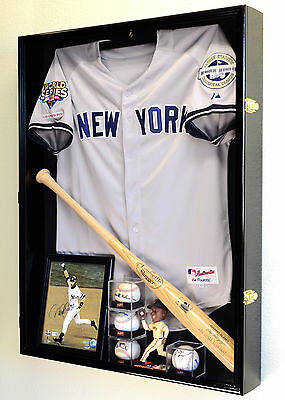 (Deep Sports Jersey Shadow Box Display Case Cabinet Baseball Bat Balls Trophies)