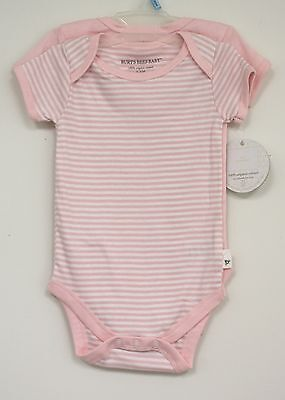 Burts Bees baby Pink White Striped Solid 2 pc Infant Girl Organic shirt bodysuit
