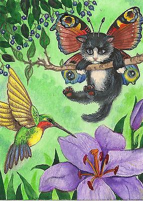 Fairy Cat Painting (PRINT OF ACEO PAINTING RYTA ANGEL FAIRY TUXEDO CAT RAINBOW HUMMINGBIRD)