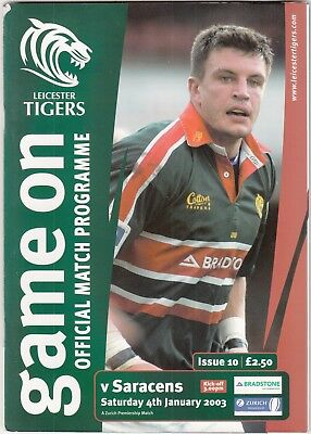 Leicester Tigers v Saracens 2002/3 (4 Jan) Zurich Premiership