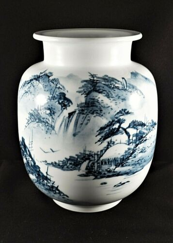 Japanese Porcelain Vase Blue & White Landscape