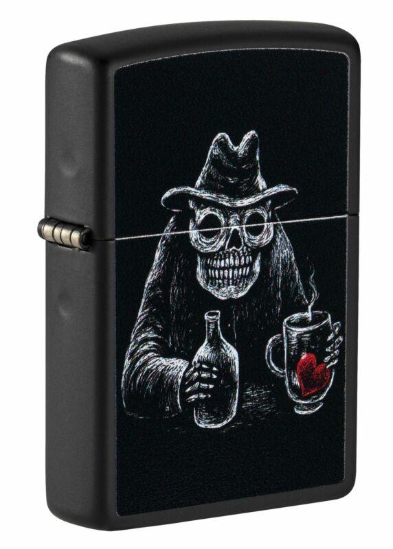 Zippo Bar Skull Design Black Matte Windproof Pocket Lighter, 49254