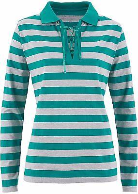 Damen Sportives Poloshirt mit Bindeband,smaragd/hellgrau meliert  ,Gr.44/46,NEU ()