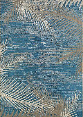 Tropical Coastal Island Beach Palm Indoor Outdoor Blue Area Rug *FREE SHIPPING* ()