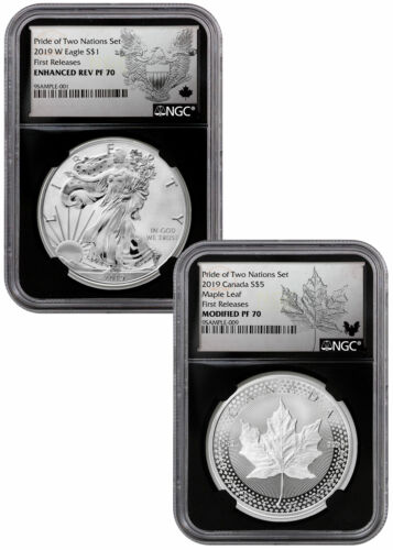 2019 1oz Silver Eagle & Maple Pride Two Nations NGC PF70 FR Blk PRESALE SKU58577