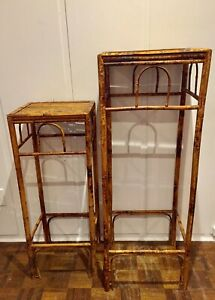 Matching Vintage Bamboo Table/Stands, size large & small
