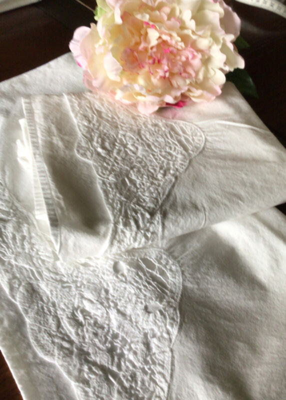 Pair Of Antique Pillow Cases. White On White. Lots Of Needle Work.