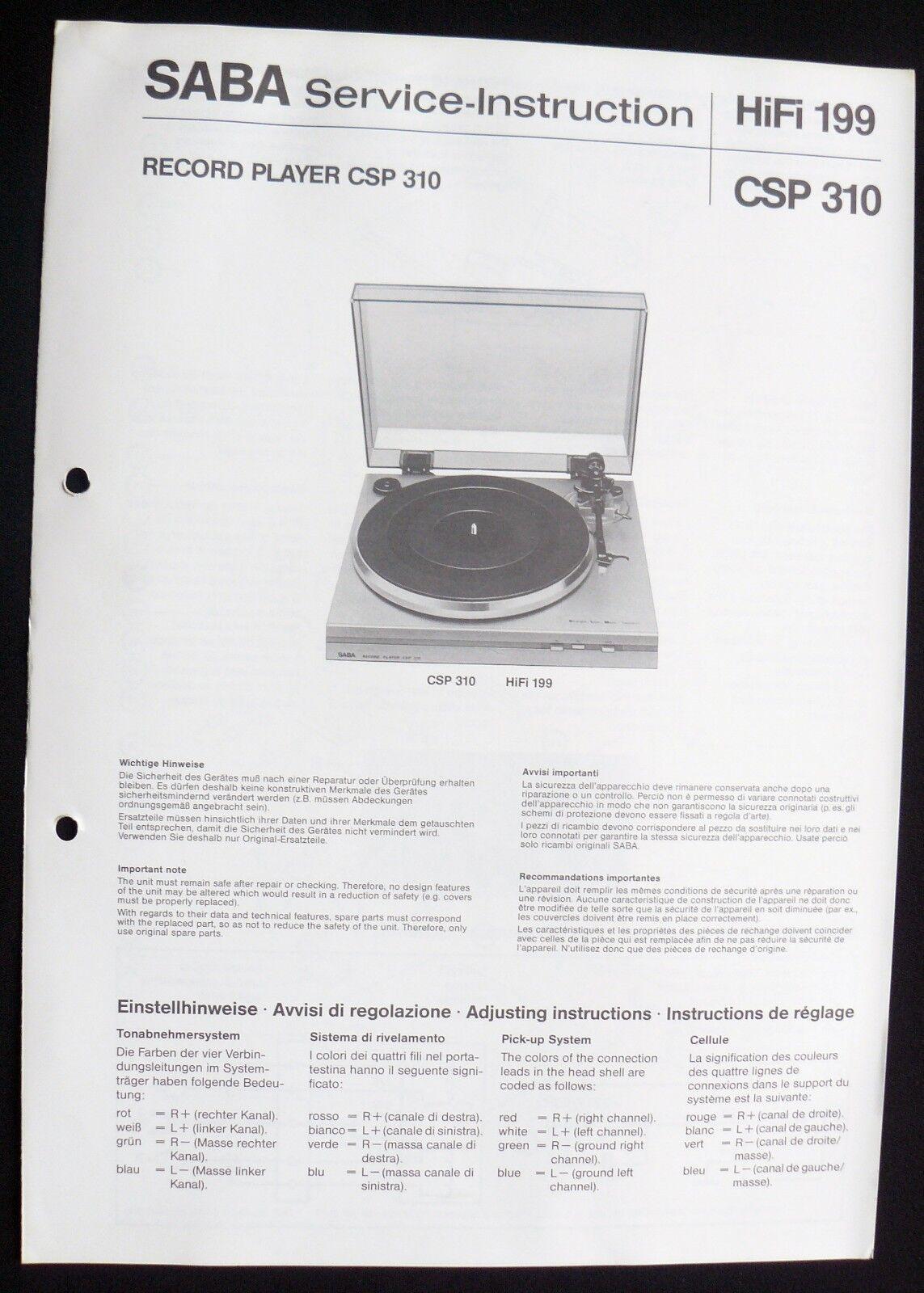 SABA HiFi 199-CSP 310 Plattenspieler Ersatzteillageplan Service-Instruction