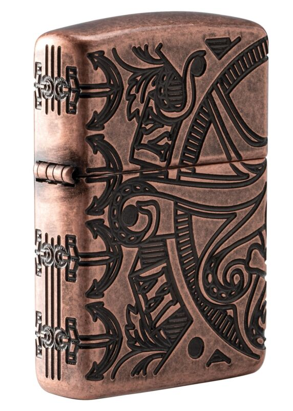 Zippo Armor Antique Copper Nautical Scene Design Windproof Pocket Lighter, 49000