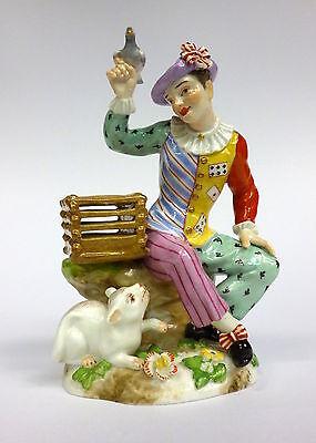 Passau Porcelain Figurine 19 Jh Arlekino Cat Pigeon