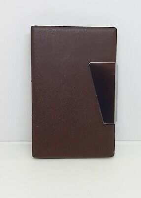 Fujima Brown 2 12 Pu Wrapped Leather Side Open Business Card Holder