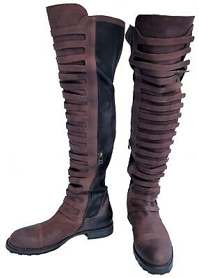 New Free People Black Forest OTK Terra Cotta Brown Over the Knee Boots Size 39 9