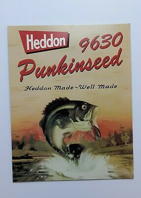 Heddon Punkinseed 9630 Fishing Lure Store Advertising Display Card Sign