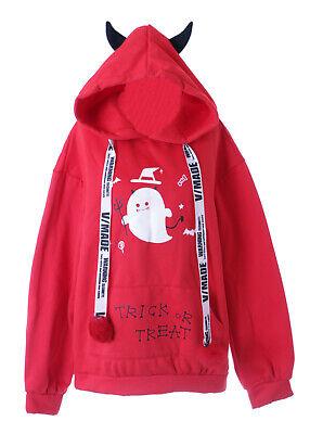Teufel Hoodie (TS-128-2 Rot Geist Vampir Devil Teufelshörner Pastel Goth Hoodie Sweatshirt)