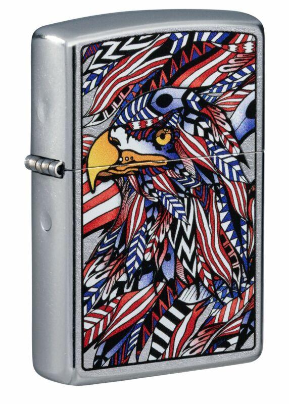 Zippo American Eagle Design Street Chrome Windproof Pocket Lighter, 49251