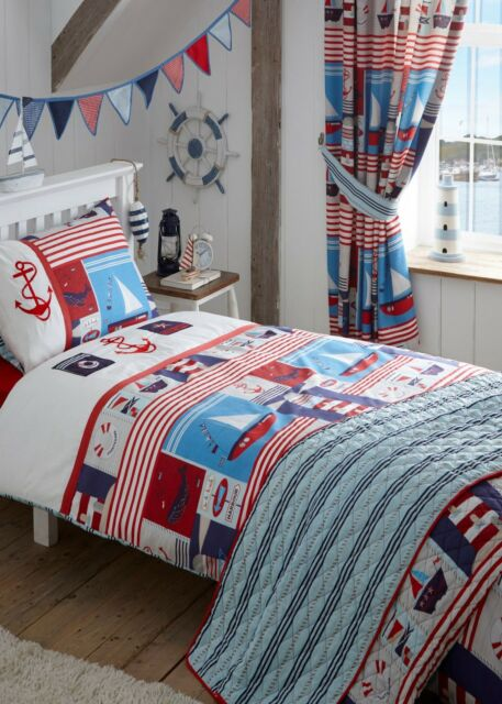 Kids Embroidered Maritime Nautical Ships Double Duvet Quilt Cover Set
