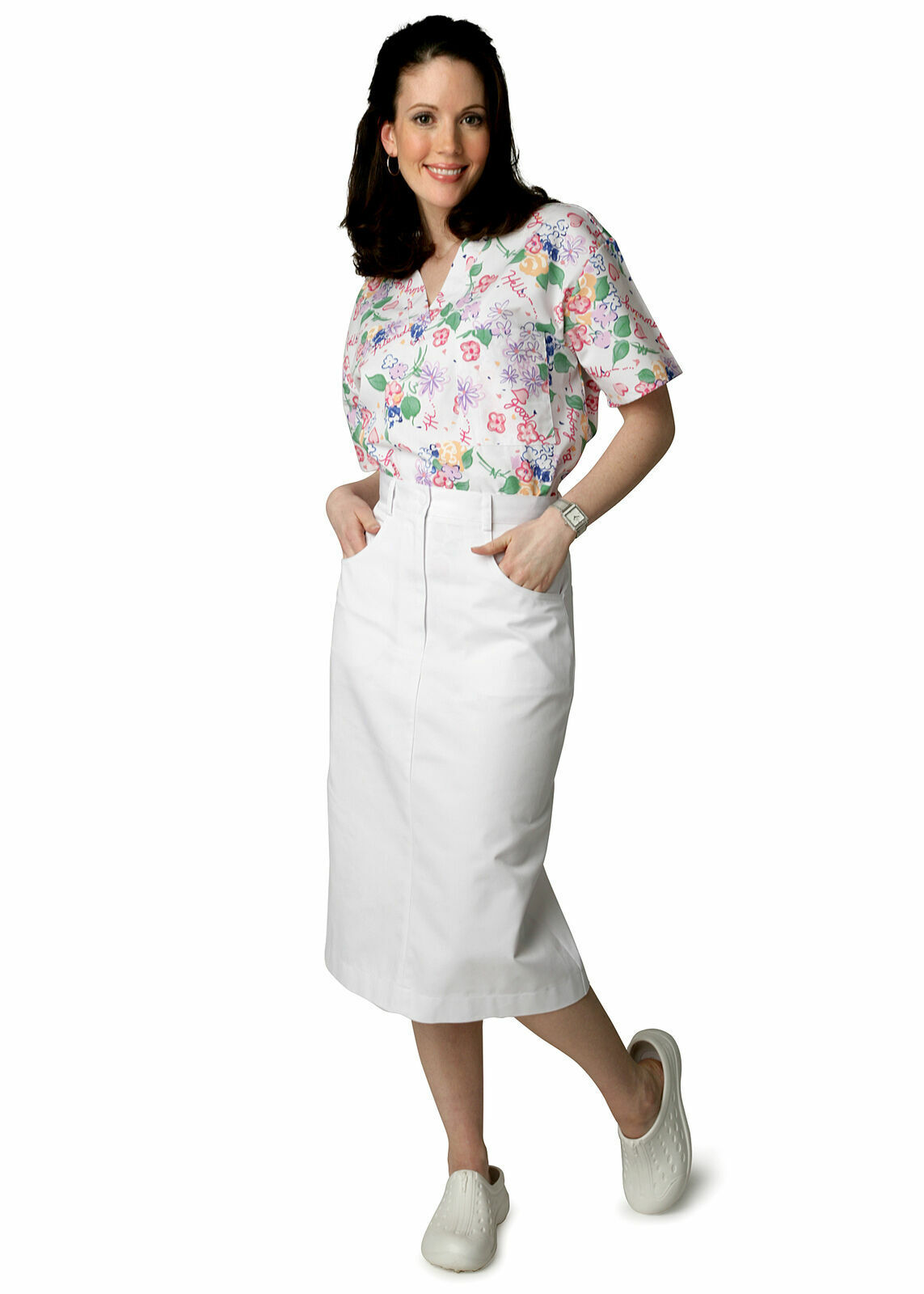 Adar Womens TWILL Medical Nursing Nurse Uniform Side And Hip