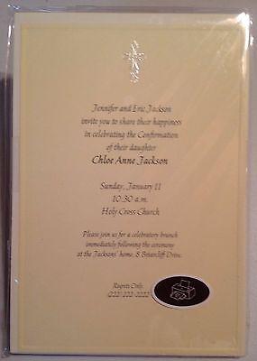 (Hallmark Invitations Cross Design Religious Pale Yellow Computer Printable NEW)