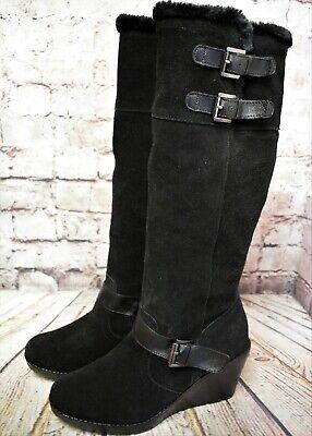 Womens Khombu Black Suede Zip Up High Heel Knee High Boots UK 7 D EUR 41