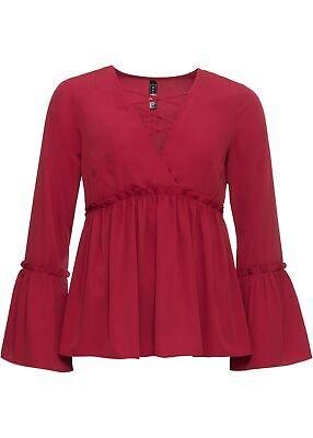 Blusenshirt mit Trompetenärmeln und Schnürung Gr. 38 Rot Damen-Bluse Shirt Neu