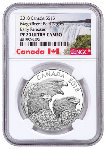2018 Magnificent Bald Eagles 1 oz Silver $15 NGC PF70 ER SKU53483