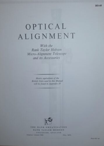 Rank Taylor Hobson Optical Alignment Telescope manual 1965 photocopy 133 pages
