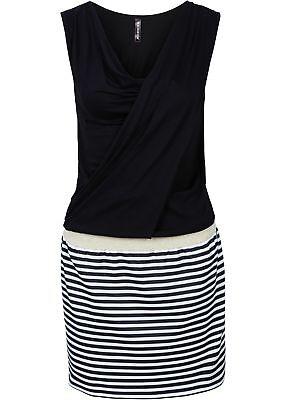 Minikleid 2in1 Optik 36 38 schwarz weiß gold Wasserfall Kleid Bluse + Rock Kleid Kleid Rock