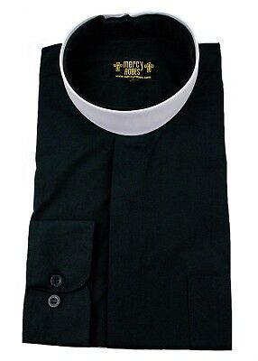 - Men's Black Neckband Clergy Shirt Includes Soft Collar, Standard Cuff, Pastor