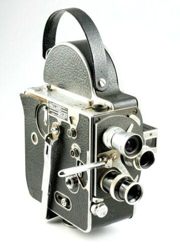 Bolex H8 Viewfinder 8mm Turreted Movie Camera + 3 Lenses