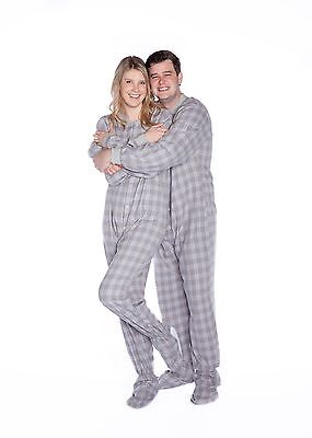 Big Feet Pjs - Gray & White Flannel - Adult Footed One Piece Pajamas  Flannel Footed Pajamas
