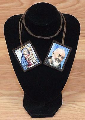 Vintage Brown Cloth / Yarn Saint Padre Pio Catholic Religious Scapular **READ**