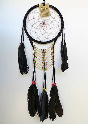 DREAM CATCHER - Large Black Handmade with Leather Beads Feathers Car Wall Decor