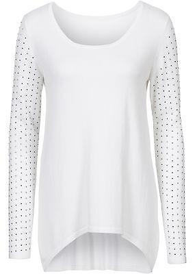 Vokuhila-Pullover mit langen Ärmeln und Nieten, weiß, Damenpullover NEU