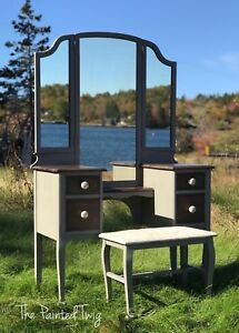 Gorgeous antique vanity/dresser with bench