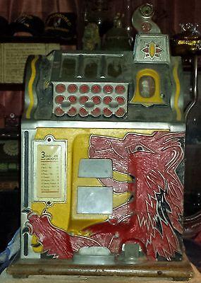 Vintage 5 Cent Gooseneck Bell Lion Head Slot Machine 1930S