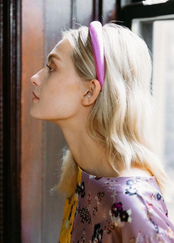 NEW Jennifer Behr Tori Hammered Silk Padded Headband Rose