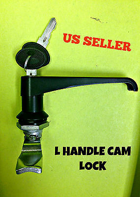 Lot Of 2 L Handle Latch Key Cam Lock Keyed Alike Black Cabinet 111.1.2.01.42