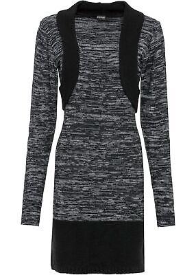 Strickkleid Gr. 40/42 Grau Schwarz Mini-Strick-Kleid Langarm Freizeit-Dress Neu*