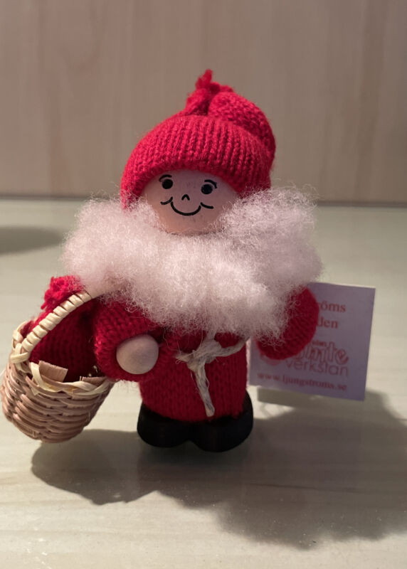 Ljungstroms Wood Christmas Santa Boy Tomte with Christmas Bag Sweden New