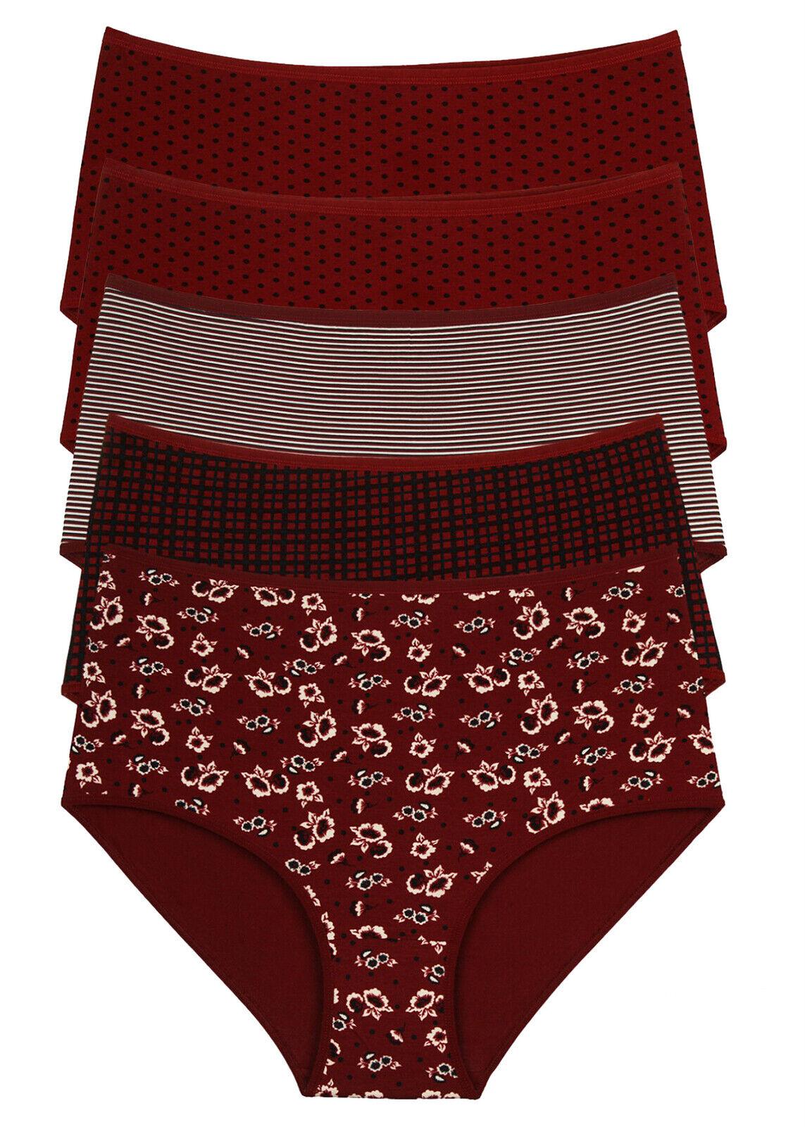 5 Damen Taillenslips Unterwäsche Übergröße Slips Baumwolle Pantys Gr. 54-60