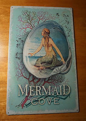 Vintage Style Mermaid Cove Sign Beach Bathroom Coral Oyster Shell Home Decor NEW