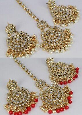 Indian Fashion Jewelry Gold Plated Wedding kundan Earring Tikka Set Women Ethnic